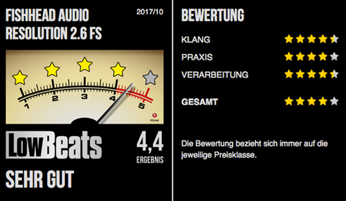 Fishhead Audio Resolution 2.6 FS Lautsprecher im Test: LowBeats - Sehr gut