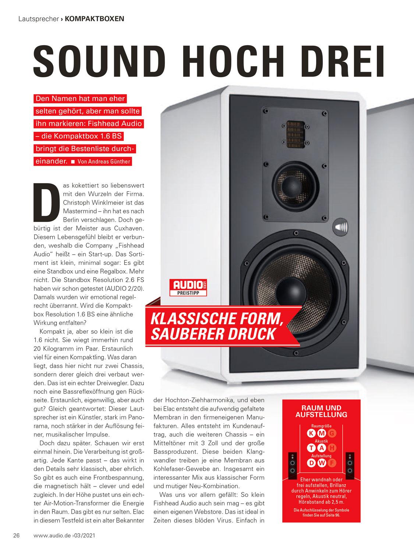 Fishhead Audio Resolution 1.6 BS Lautsprecher im Test: Audio.de_03-2021